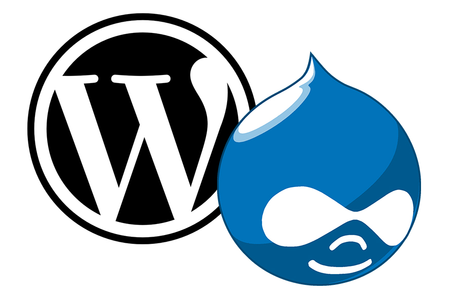 Contentmanagementsysteme WordPress und Drupal (Logos)