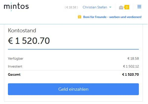 Titelbild zum Artikel 50 EURO Ertrag mit mintos und Bondora